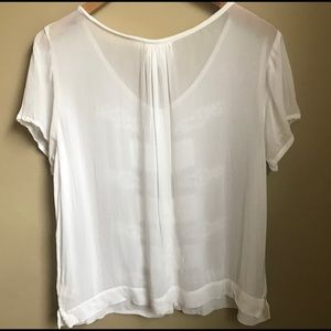 Anthropologie Tops - Anthropologie One Fine Day Cream Sheer Blouse M